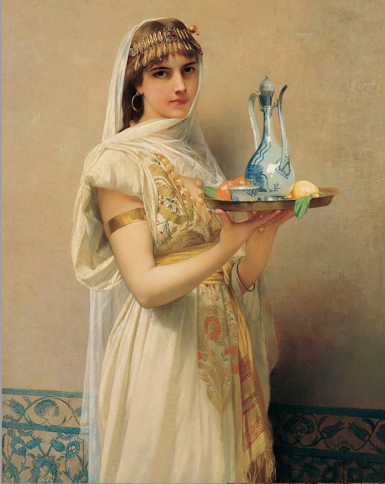 Jules Joseph Lefebvre: Szolgálólány porcelán csokoládés kannával és csészével (1880) • Kép forrása: Wikipédia