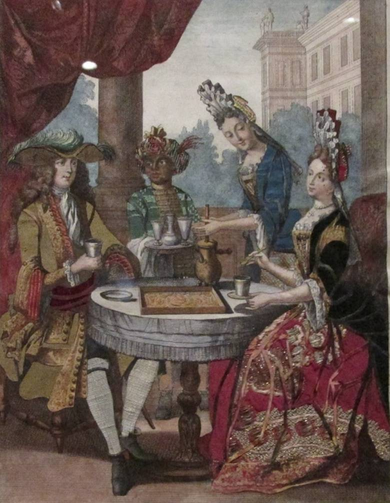 Csokoládét kóstoló 17. századi francia lovag és hölgye a szolgával és az italt keverővel habosító háziasszonnyal (Nicolas Bonnart metszete, 1680 körül) • Kép forrása: nationalgallery.org.uk