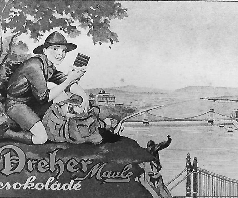 A Dreher csokoládégyár termékeit népszerűsítő plakát az 1920as évekből • Kép forrása: retro.network.hu