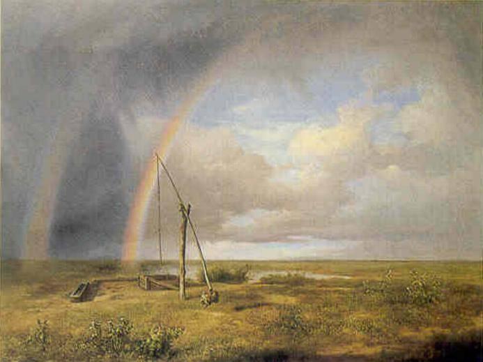 Páros ívű szivárvány a magyar tájképfestészet megteremtőjeként számon tartott id. Markó Károly A puszta című festményén (1853)