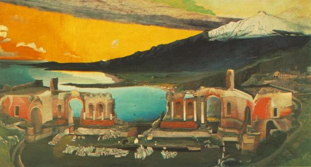 Színpompás naplemente Csontváry Kosztka Tivadar A Taorminai görög színház romjai (Taormina, 1904–1905) című festményén