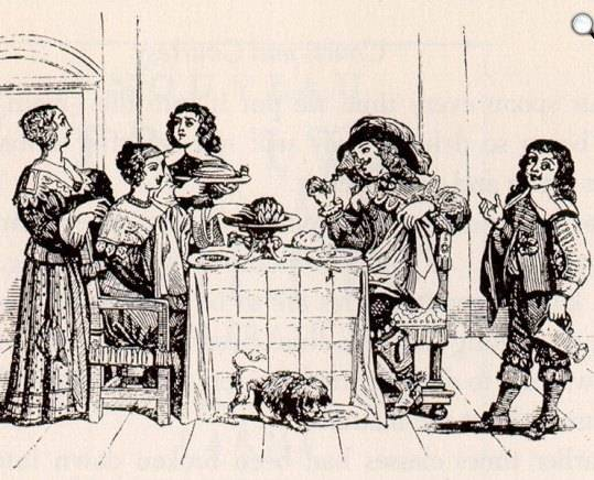 A barokk korban a viszonylag nagyméretű szalvéták eleinte a gyermekek nyakába, később a felnőttek térdére kerültek (Forrás: Wikipédia)