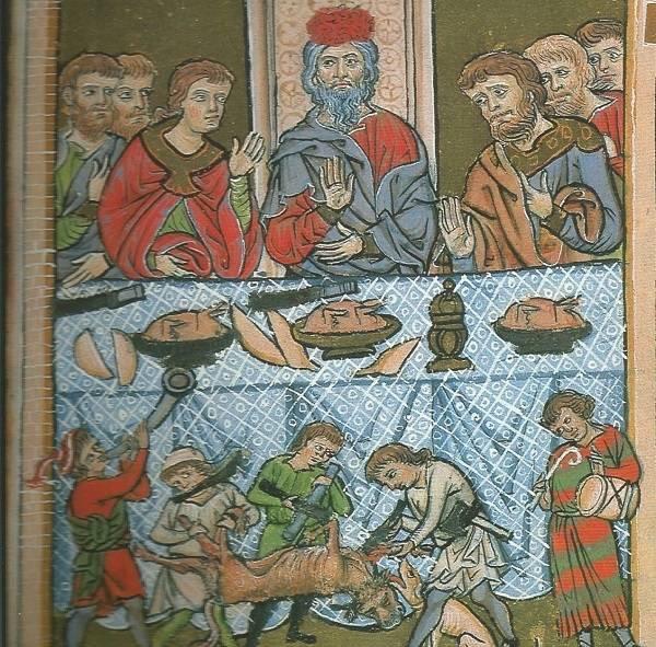 A középkori ülésrend szerint az asztalfőn – középen vagy az asztal rövidebb oldalán – a ház ura ült, mellette a legidősebb fia és a legrangosabb vendégek (Biblia-illusztráció, 1240 • Forrás: Wikipédia)