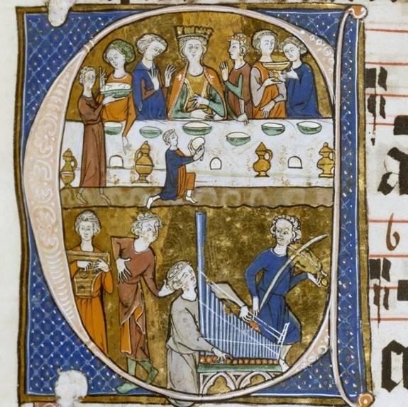 A középkori uralkodók és főurak asztalaira ezüst só- és fűszertartók, illetve olajas, ecetes palackok kerültek, a vendégeket lanton, hárfán, orgonán játszó zenészek szórakoztatták (zsoltárkönyv iniciáléja, 1290 • Forrás: Wikipédia))