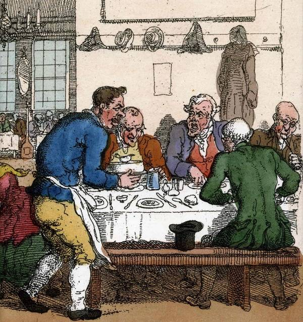 Az összehangolt és helyesen elrendezett étkészletek (tányér, pohár, kés, kanál, villa, szalvéta, fogvájó) a 17. századi Franciaországban jelentek meg először az asztalokon (Forrás: Wikipédia)