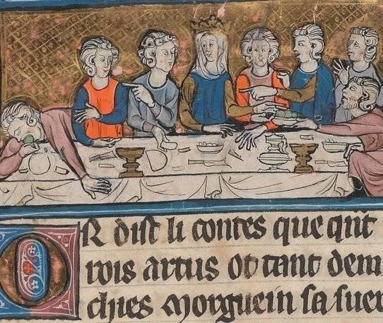 A régi idők főúri lakomáin is előfordult a megbotránkoztató viselkedés és az ujjal mutogatás (reneszánsz kori kódex miniatúrája• Forrás: Wikipédia)