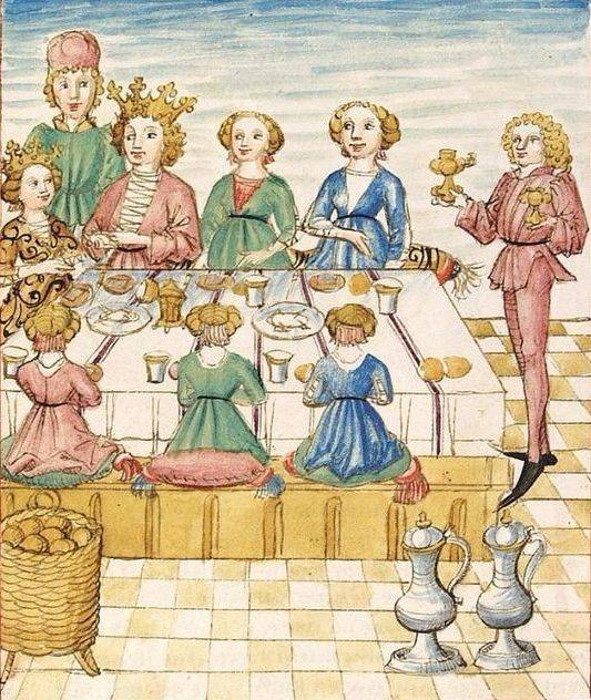 A nők és a férfiak közös asztalnál való étkezése csak a késő reneszánsz korában vált elfogadottá (nők asztala egy középkori kódexben, 1475• Forrás: Wikipédia)
