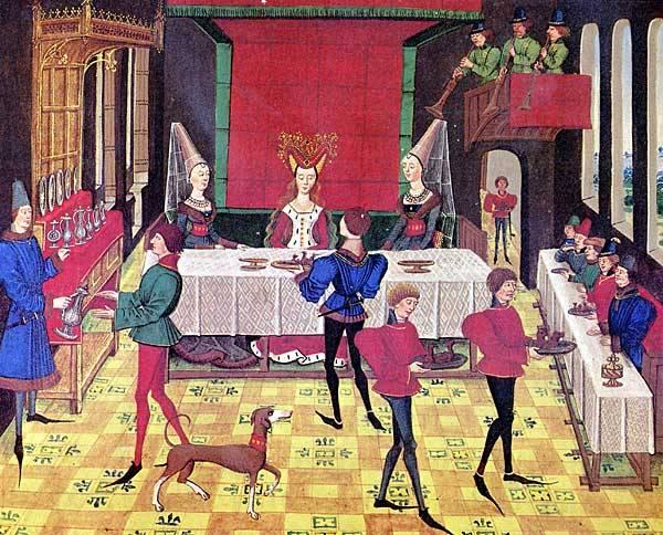 A középkorban a férfiak és a nők külön asztaloknál étkeztek, a gyermekeknek nem volt helyük az ebédlőtermekben (14. századi miniatúra) (Wikipédia)