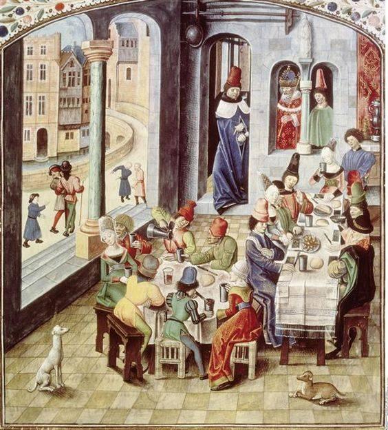 A 16. századig az úriházak nagy csarnokaiban étkezett az egész háznép: a családtagok magasabb, törlőkendőkkel is ellátott, az alkalmazottak alacsonyabb, sima vászonnal leterített asztaloknál (miniatúra egy reneszánsz kori kódexben • Forrás: pinterest.fr)