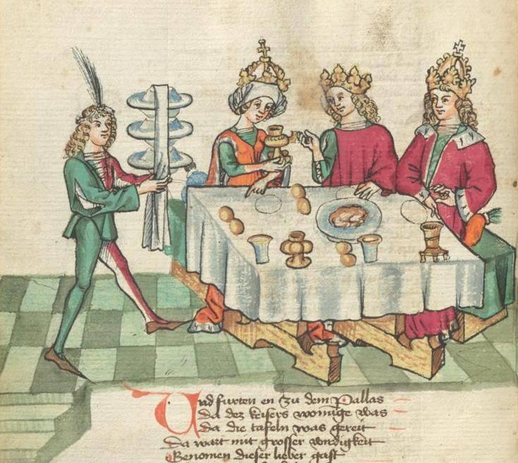 A 14. századi ábrázoláson a királyi ebédet felszolgáló étekfogó hosszú felszolgálókendővel takarja le, illetve fogja össze a tálakat (Forrás: Wikipédia)