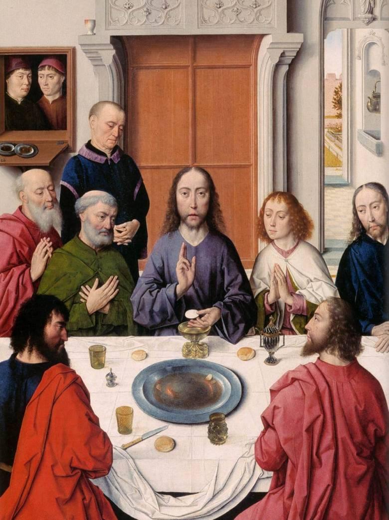 A reneszánsz korában a szájak és kezek törlésére szolgáló hosszú kendőket az asztalok szélére vagy – kilógó véggel – az abrosz alá helyezték (Az utolsó vacsora, Dieric Bouts oltárképének részlete, 1465 • Forrás: britannica.com)