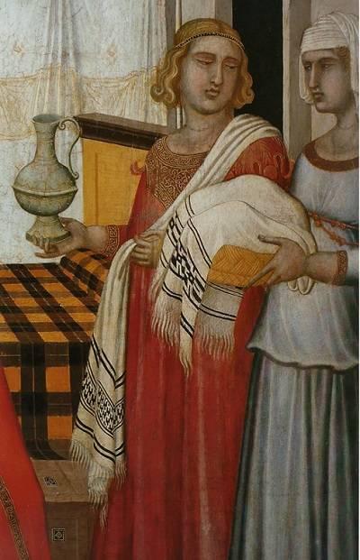 Az asztalkendők (nálunk a múlt század elejéig) az élelem, elsősorban a kenyeres kosarak letakarására, illetve kéztörlőként, kötényként, vállkendőként szolgáltak (Pietro Lorenzetti oltárképének részlete, 1342 • Forrás: uffizi.it)