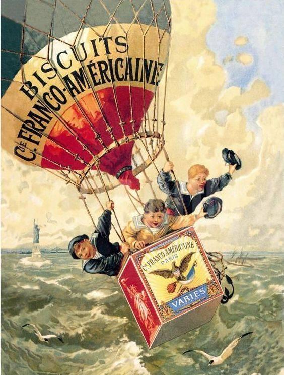 A reklámozás távolról is látható eszközei a nagy felületű hőlégballonok (Theophile Alexandre Steinlen édességreklámja, 1888)• Kép forrása: Pinterest.com