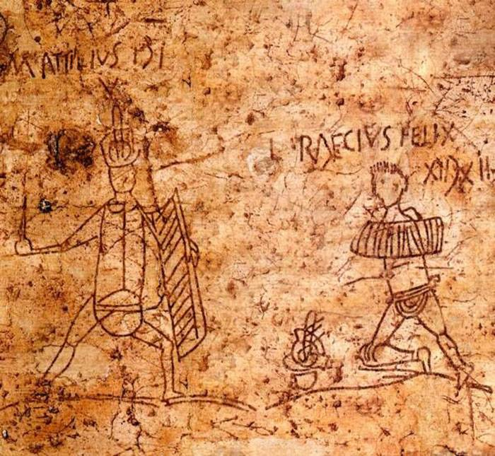 A pompeji ásatások során feltárt, gladiátorjátékot hirdető, vörös festékkel falra rajzolt reklám • Kép forrása: widewalls.ch
