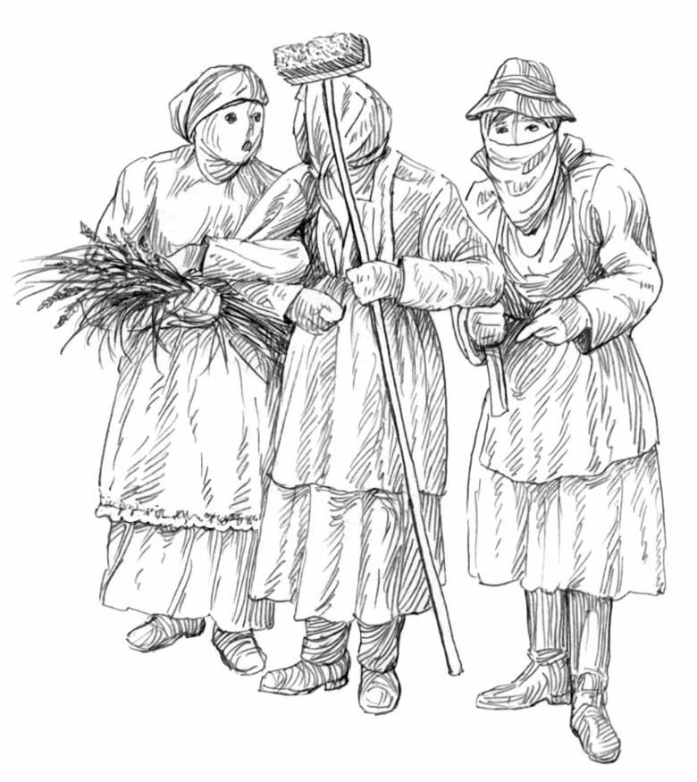 A Luca-napi alakoskodók arcukat fehér lepellel takarták el, a jó gyerekeket megajándékozták, a lustákat pedig megfenyegették a kezükben tartott seprűvel vagy meszelővel  (cultura.hu)