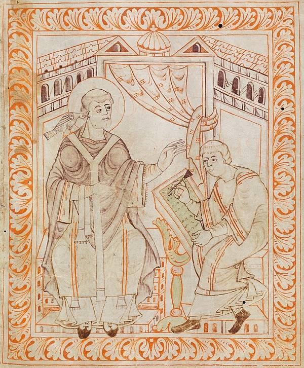 Szent Gergely pápa, a hagyomány szerint, a galamb alakjában megjelent Szentlélek sugallatára diktálta a liturgikus énekek, zsoltárok szövegét és – róla elnevezett (gregorián) – dallamait • (Forrás: Wikipédia)