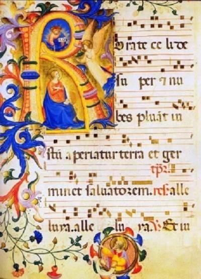 A hajnali miséknek a roráté nevet adó gregorián himnusz kottája egy középkori kéziratban (Forrás: therprodigalsoun.wordpress.com)