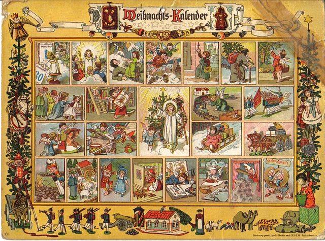 Az adventi naptárak számozott ablakai minden napra újabb meglepetést (képet, apró játékot, édességet) rejtenek december elejétől karácsonyig (Forrás: Wikipédia)