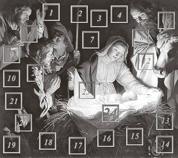 Az első nyomtatott adventi naptárt, amelynek ajándékai a naptárra felragasztható képek voltak, Gerhard Lang készítette a múlt század elején (Forrás: Wikipédia)