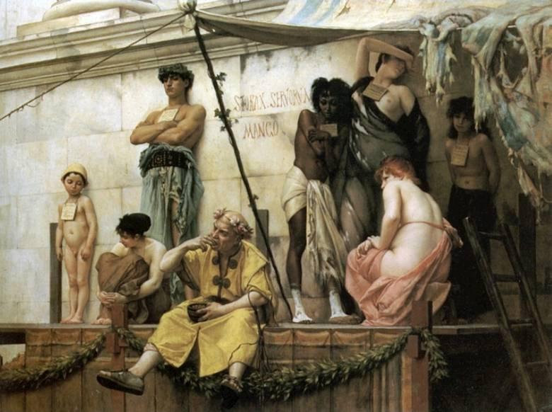 """Az ókori rabszolgavásár helyét falfelirat jelezte, az """"áru"""" minőségét nyakba akasztott táblák dicsérték (Gustav Boulanger: Római rabszolgavásár, 1882) • Kép forrása: thehistorypress.co.uk"""