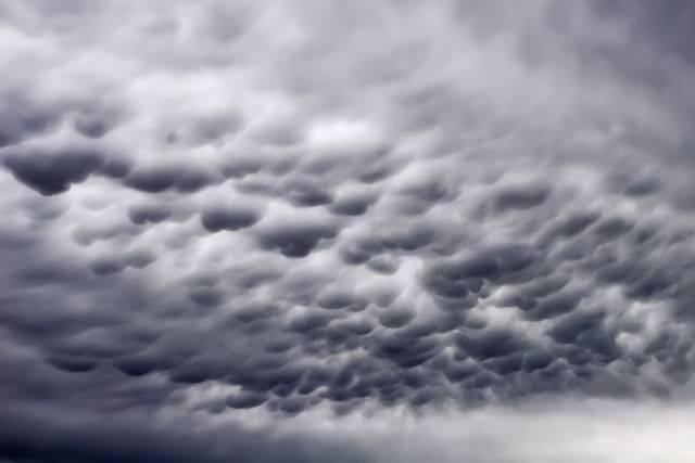 A nagyméretű cseppekből álló emlőfelhőkből hamarosan elered a zápor • Forrás: Wikipédia