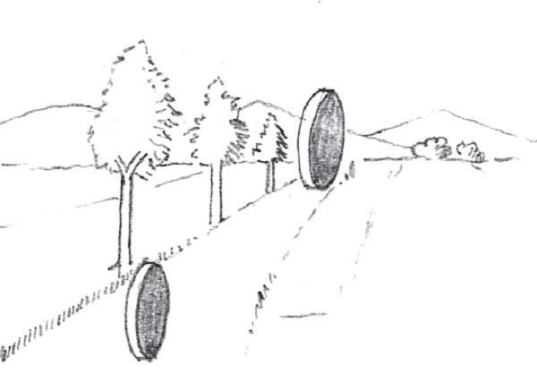 Az optikai csalódás tipikus esete: bár a korongok mérete azonos, a távolabbinak tűnőt nagyobbnak látjuk