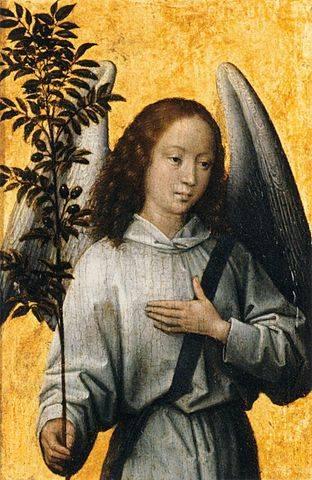 A reneszánsz korától az olajág a képzőművészetben is a béke szimbólumává vált • Hans Memling: A béke angyala, 1475 • forrás: Wikimédia Commons
