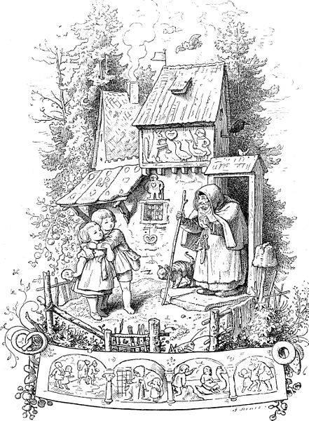 Jancsi és Juliska a vasorrú bába mézeskalácsháza előtt • Ludwig Richter illusztrációja egy 19. századi német meséskönyvben • forrás: Wikimédia