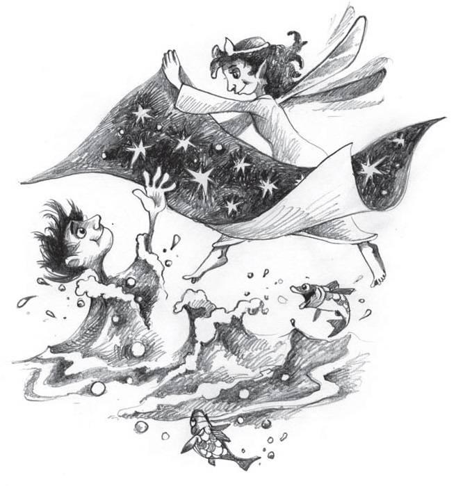 A szerelmes tündérlány minden éjjel kiteríti fátylát az égbolton • Csillag István rajza