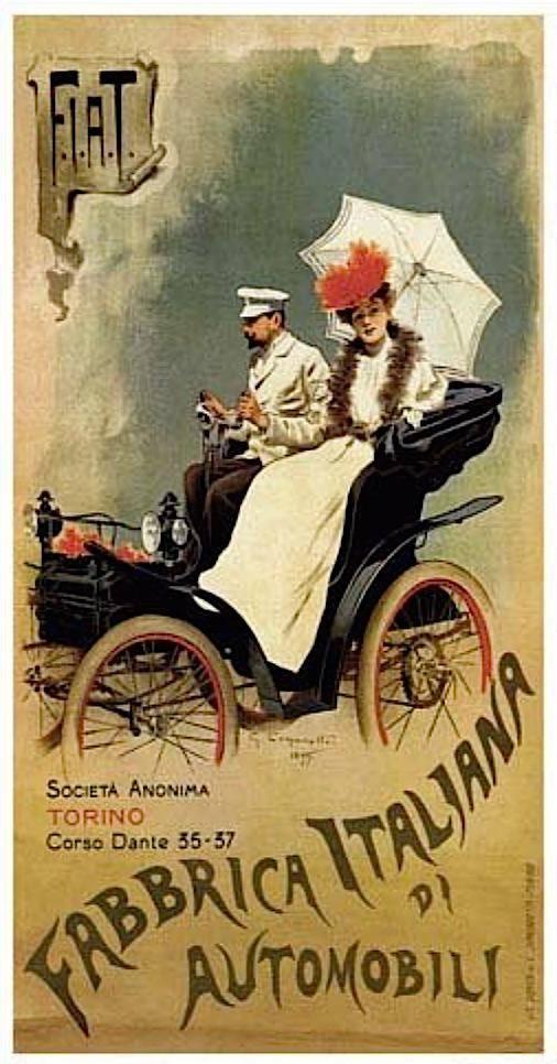 A művészi plakátok ízlésnevelő szerepet is betöltöttek (a torinói Fiat cég reklámplakátja, 1899) • Kép forrása: reddit.com