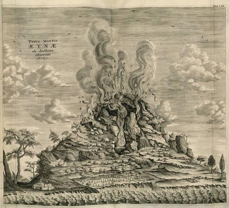 Füstfelhő, repülő kövek és lávafolyam Héphaisztosz görög tűzisten legendabeli lakhelye, a szicíliai Etna 1637-es kitörésekor (korabeli metszet) • Forrás: Wikimedia Commons