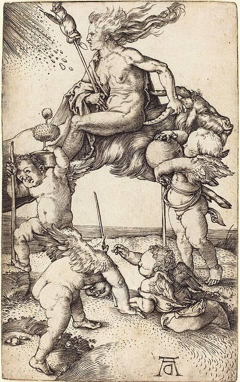 Albrecht Dürer boszorkánya hátrafelé felnyergelt fekete kecskén repül az ördöggel való találkozóra • A boszorkány, 1500 körül • forrás: Wikimédia