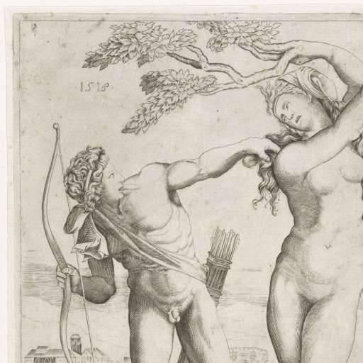 A görög monda szerint az Apollón napisten elől menekülő Daphné nimfa változott babérfává  • Baccio Bandinelli: Apollón és Daphné, 1518  • forrás: rijksmuseum.nl