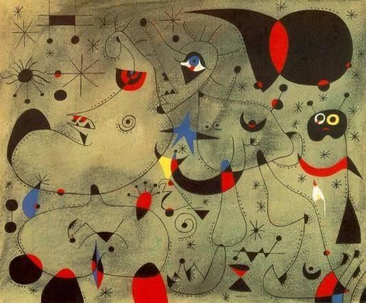 A sötétség titokzatos lényei Joan Miró katalán művész festményén • Éjszaka, 1940 • forrás: pinterest.com