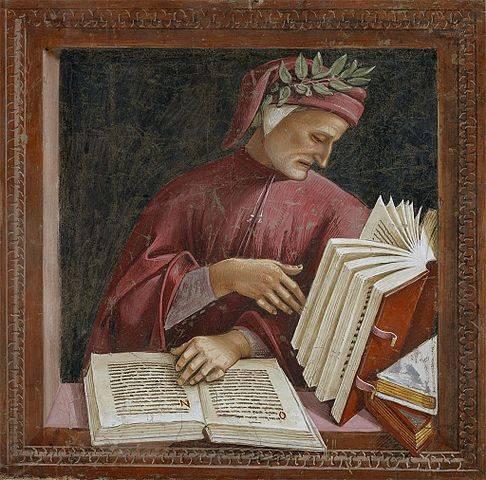 A legkiválóbb ókori és középkori költők, hadvezérek és sportolók homlokát övező babérkoszorú halhatatlanságukat jelképezte • Luca Signorelli: Dante Alighieri, 1295 • forrás: Wikimédia Commons