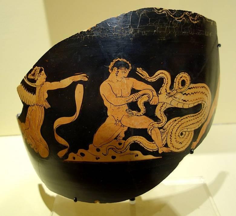 Heraklész és a lernai Hüdra harcának ókori ábrázolása • Forrás: Wikipédia