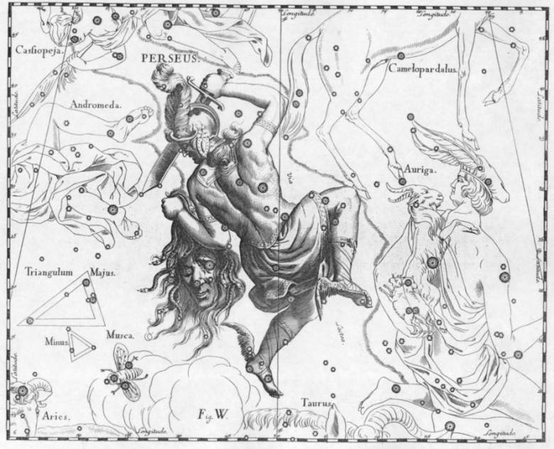 Medusza szeme a Perszeusz csillagkép fényes csillaga, a Démoncsillagnak is nevezett Algol alakjában pislog az égbolton (Perszeusz, kezében Medusza fejével, Johann Bayer csillagatlaszában) • Forrás: Wikimedia Commons