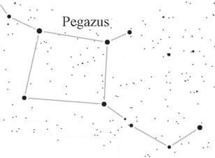 A Pegazus csillagkép hatalmas csillagnégyszöge őszi hónapokban tűnik fel a keleti égbolton • Forrás: earthsky.org
