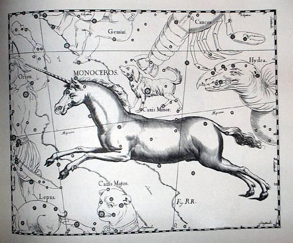 Az Egyszarvú Johann Bayer csillagatlaszában • Forrás: Wikimedia Commons