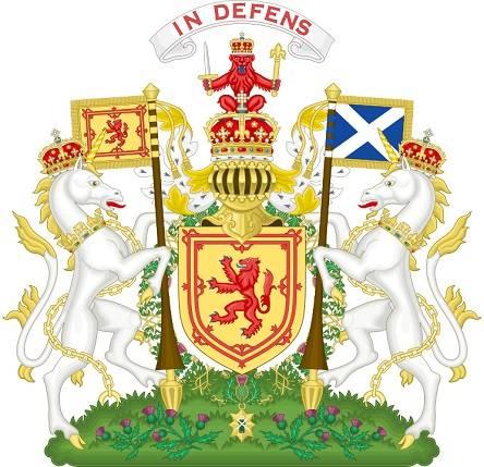 Skócia címerében a címerpajzsot két egyszarvú tartja, alatta a felirat: Senki sem zaklathat büntetlenül • Forrás: Wikipédia