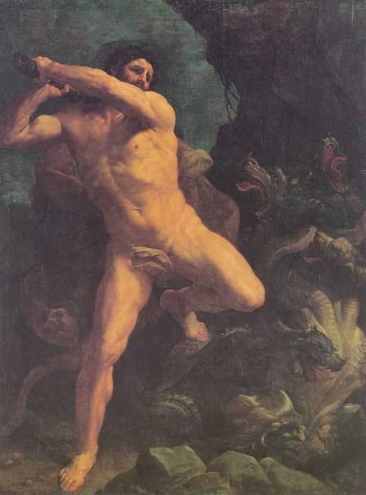 Heraklész legyőzi a sárkányt (Guido Reni metszete) • Forrás: Wikipédia