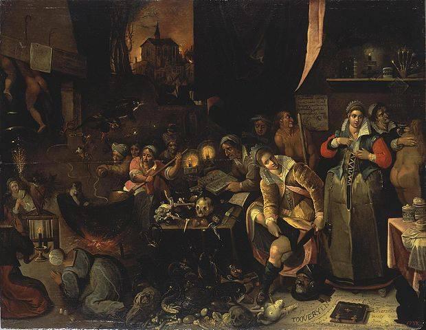 Boszorkányok ügyfeleikkel és a varázsital készítéséhez szükséges nyersanyagokkal • Frans Francken: Boszorkánykonyha, 1610 • forrás: Wikimédia