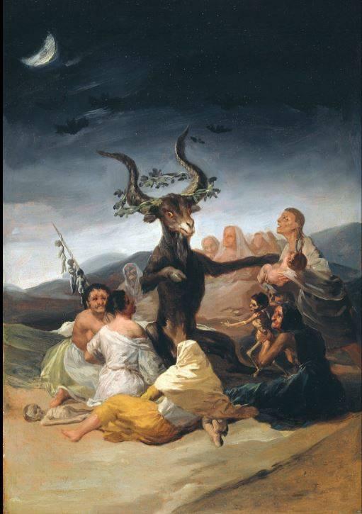 A nagy kecskebak alakjában megjelenő ördög és követői Francisco Goya festményén • Boszorkányszombat, 1789 • forrás: Wikimédia