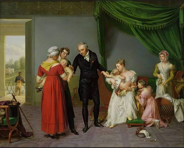 Edward Jennerre emlékezve nevezték el és nevezik ma is vakcinának – a vacca ('tehén') latin szóból – a védőoltást • Constant Desbordes: Himlő elleni védőoltás, 1820 körül • Forrás: meisterdrucke.uk