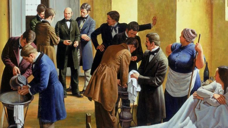 Semmelweis Ignác elsőként kötelezte kórházában kezük fertőtlenítésére a szülészeti osztályra belépő orvosokat, orvostanhallgatókat és ápolókat  •  Robert A. Thom: Az anyák megmentője, 1960  •  Forrás: umma.umich.edu