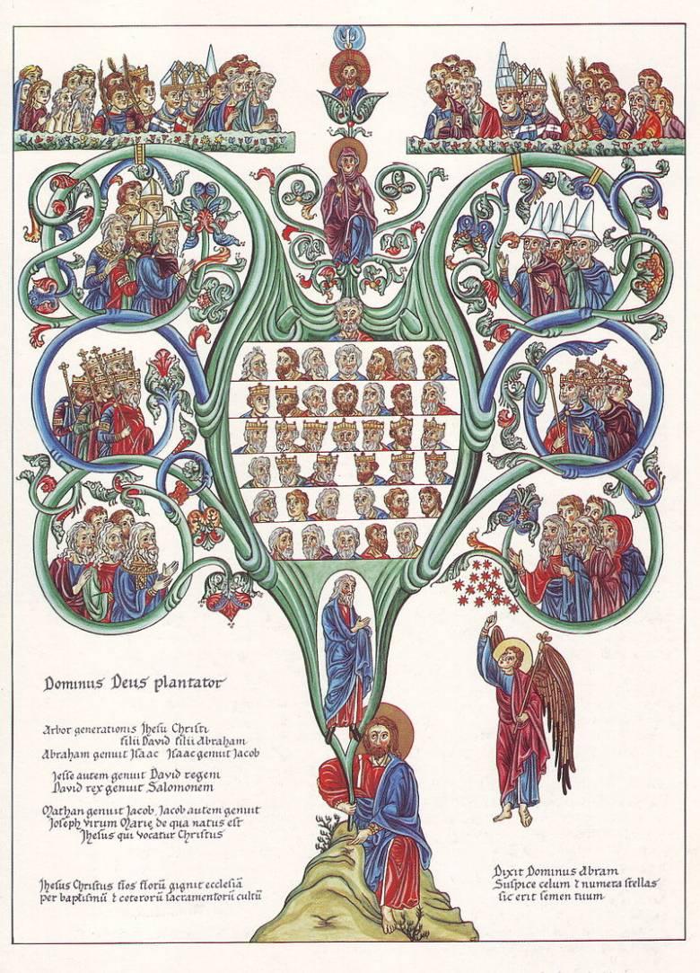 Jézus nemzetségfájának ágain a Megváltó ősei, királyok és próféták ülnek • Jessze fája egy középkori kódexben • forrás: Wikipédia