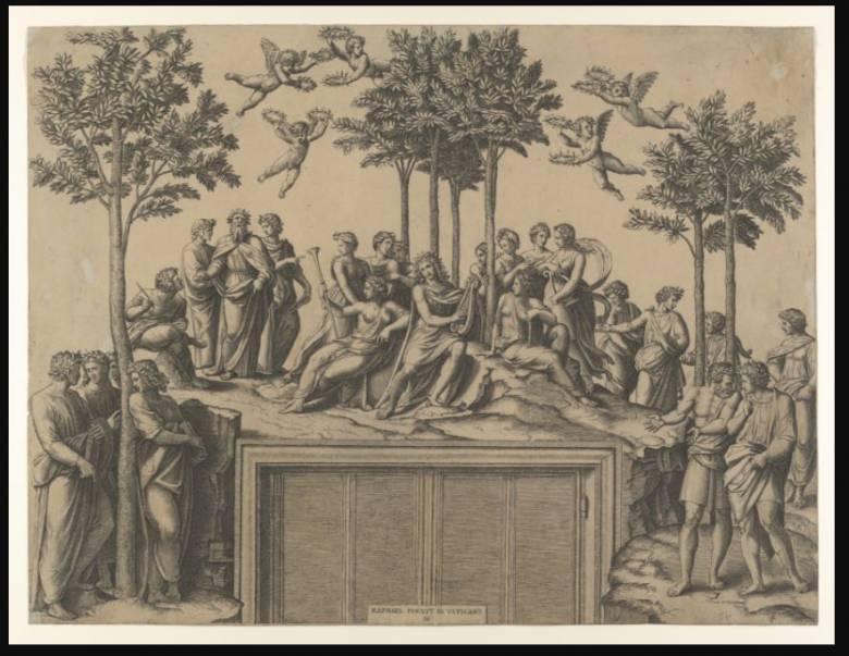 """A görög mitológiában a fűzfa a múzsák szent fája volt • Raffaello Santi: Apollón napisten a """"Fűzfák hegyén"""", múzsák és koszorús költők társaságában, 1517 • forrás: metmuseum.org"""