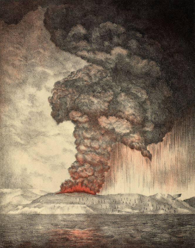 1883-ban a Krakatau kitörése megsemmisítette a sziget kétharmadát, mintegy 20 köbkilométernyi törmeléket és 80 km magas hamuoszlopot lövellt a magasba (a robbanást követő szökőár hullámainak magassága megközelítette a 30 métert) • Forrás: Wikimedia Common