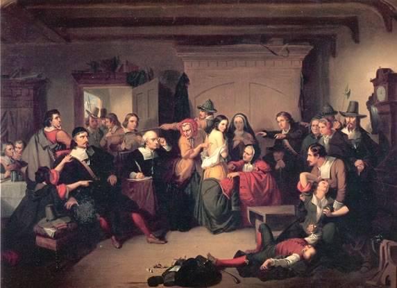 A boszorkányperek fontos mozzanata volt a stigmák (pl. anyajegyek) keresése a perbe fogottak testén • T. H. Matteson: A vizsgálat, 1853 • forrás: Wikimédia
