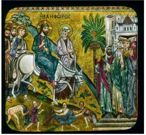 Virágvasárnapján pálmaágakkal üdvözölték a Jeruzsálembe bevonuló Jézust • palermói mozaik, 1150 körül  • forrás: cbnasia.org